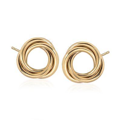 14kt Yellow Gold Open Knot Earrings, , default