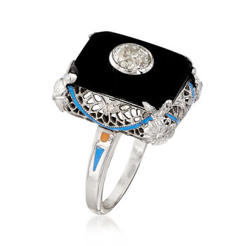 C. 1950 Vintage Black Onyx and Diamond Ring in 14kt White Gold. Size 5.25, , default