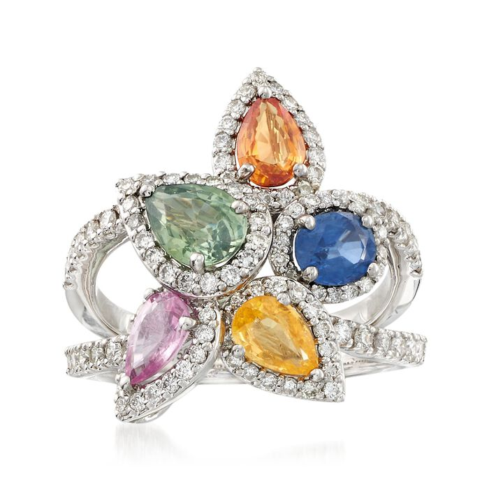 2.70 ct. t.w. Multicolored Sapphire and .98 ct. t.w. Diamond Ring in 18kt White Gold, , default