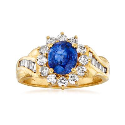 C. 1980 Vintage 1.55 Carat Sapphire and .75 ct. t.w. Diamond Ring in 18kt Yellow Gold