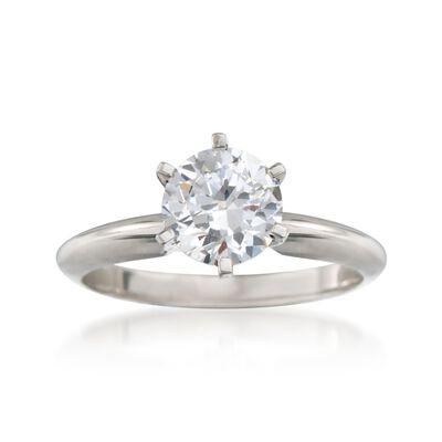 Platinum Six-Prong Engagement Ring Setting, , default
