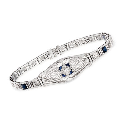 C. 1950 Vintage 1.15 ct. t.w. Simulated Sapphire Filigree Bracelet in 14kt White Gold, , default