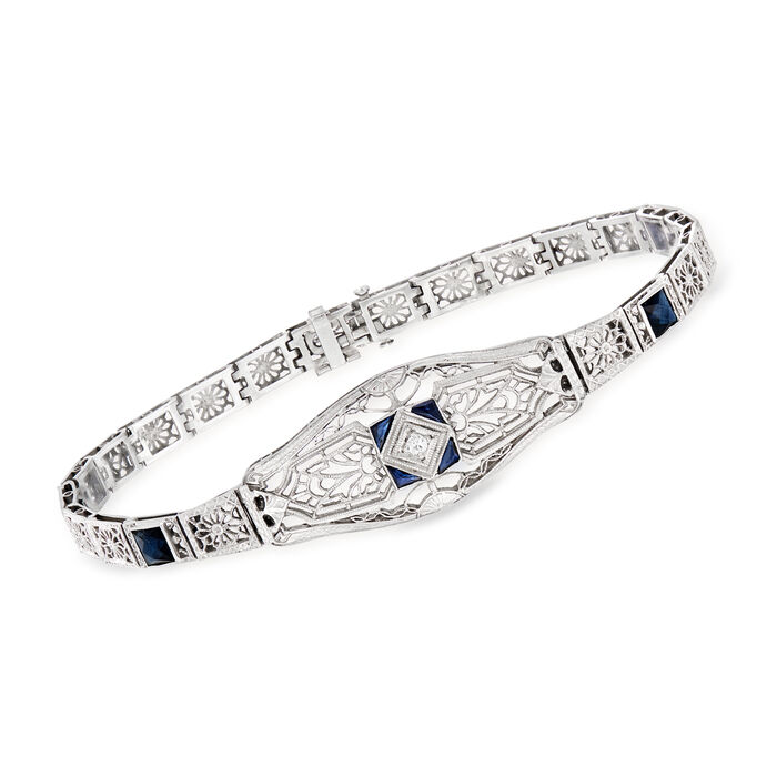 C. 1950 Vintage 1.15 ct. t.w. Simulated Sapphire Filigree Bracelet in 14kt White Gold. 7.75""