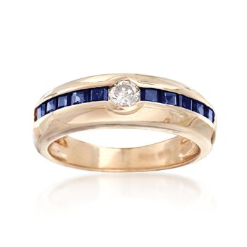 C. 1980 Vintage .20 Carat Diamond and .80 ct. t.w. Sapphire Ring in 14kt Yellow Gold. Size 6.5, , default