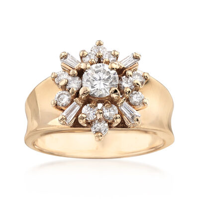 C. 1970 Vintage .90 ct. t.w. Diamond Cluster Ring in 1kt Yellow Gold, , default