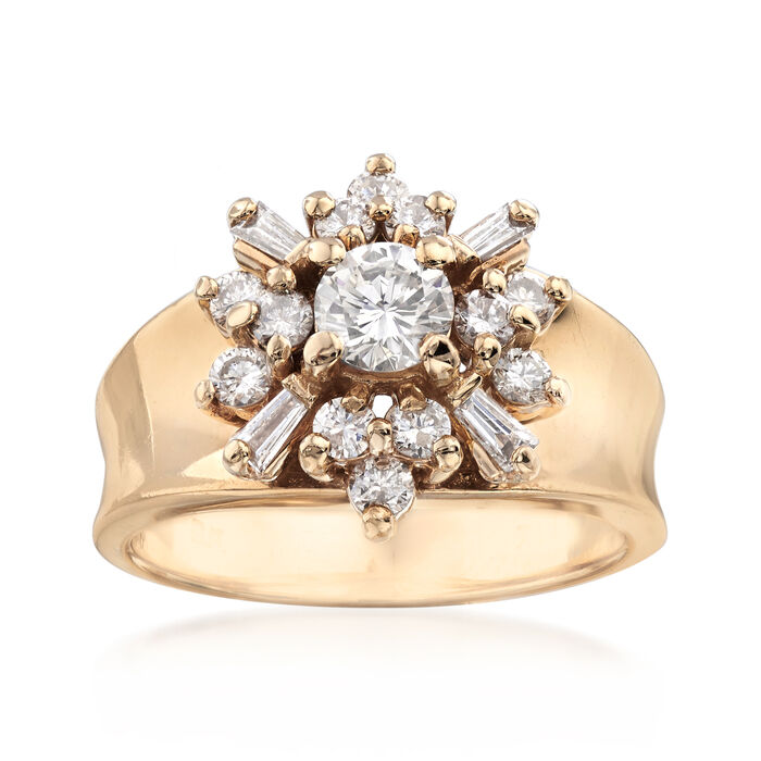 C. 1970 Vintage .90 ct. t.w. Diamond Cluster Ring in 1kt Yellow Gold. Size 6.5, , default