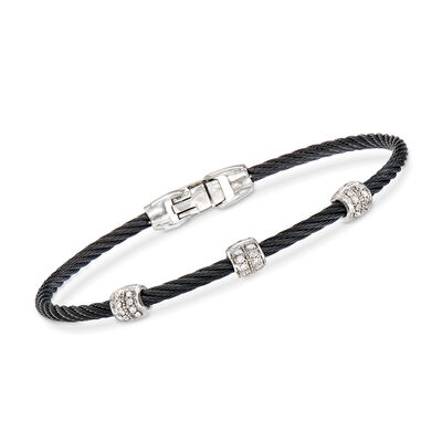 "ALOR ""Classique"" Black Stainless Steel Cable Station Bracelet with .21 ct. t.w. Diamonds and 18kt White Gold, , default"
