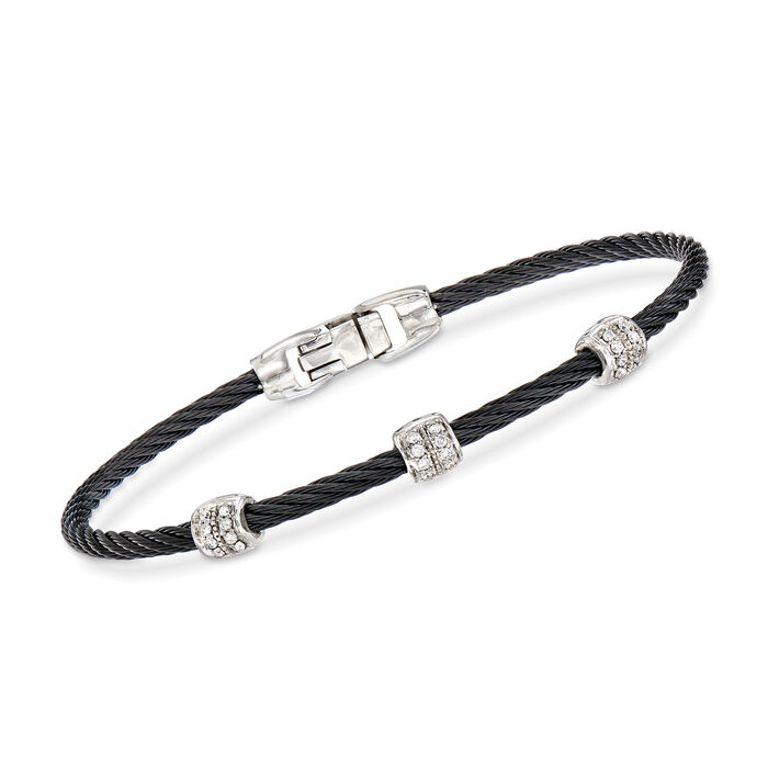 "ALOR ""Classique"" Black Stainless Steel Cable Station Bracelet with .21 ct. t.w. Diamonds and 18kt White Gold. 7"", , default"