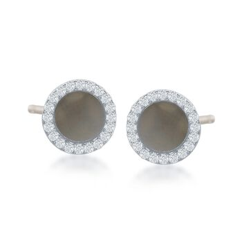 Mother-Of-Pearl and .40 ct. t.w. CZ Stud Earrings in Sterling Silver, , default