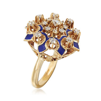C. 1950 Vintage .90 ct. t.w. Diamond Cluster Ring with Blue Enamel in 14kt Yellow Gold. Size 6.5, , default