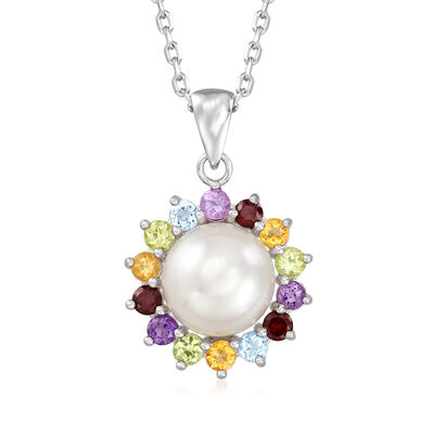 9-9.5mm Cultured Pearl and .49 ct. t.w. Multi-Gemstone Pendant Necklace in Sterling Silver