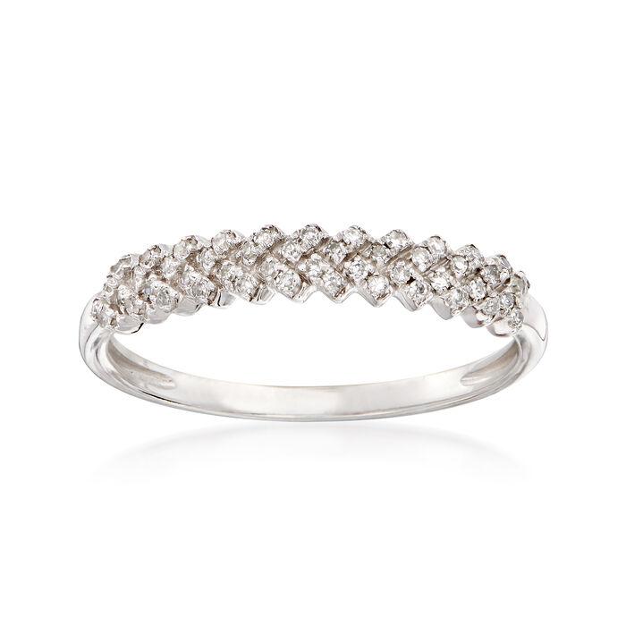 .14 ct. t.w. Diamond Chevron Ring in 14kt White Gold, , default