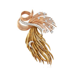 C. 1950 Vintage 1.45 ct. t.w. Diamond Ribbon Wisp Pin With Moon in 14kt Tri-Colored Gold, , default