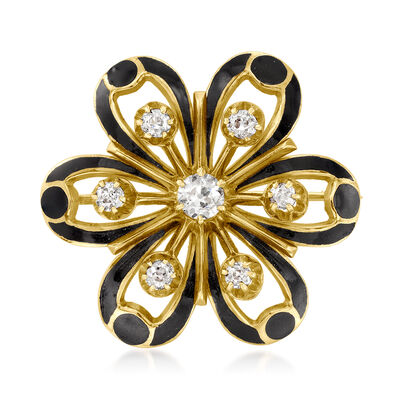 C. 1930 Vintage .75 ct. t.w. Diamond and Black Enamel Flower Pin/Pendant in 14kt Yellow Gold