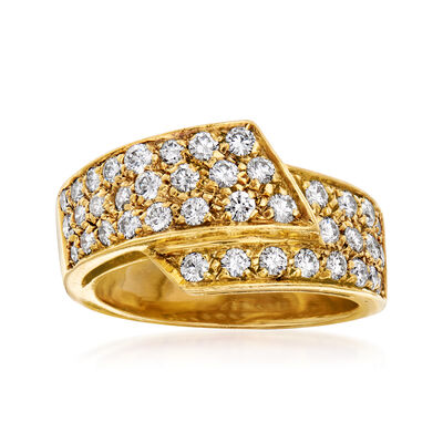 C. 1980 Vintage 1.00 ct. t.w. Diamond Foldover Ring in 18kt Yellow Gold