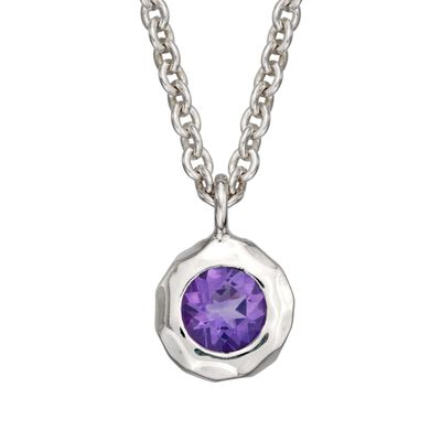 "Zina Sterling Silver ""Sahara"" .40 Carat Amethyst Pendant Necklace"