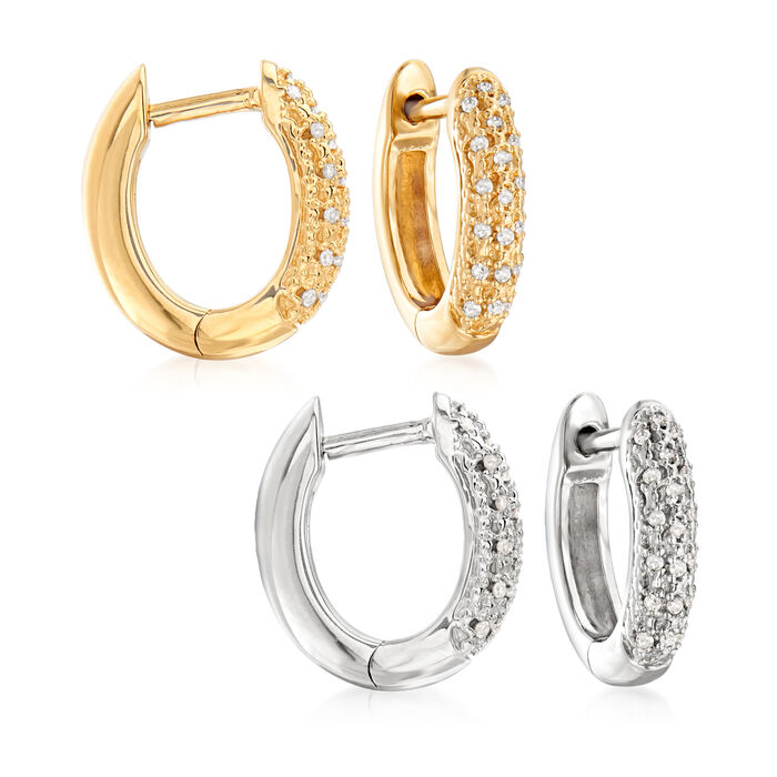 """.10 ct. t.w. Diamond Jewelry Set: Two Pairs of Huggie Hoop Earrings in Sterling Silver and 18kt Gold Over Sterling. 3/8"""", , default"""