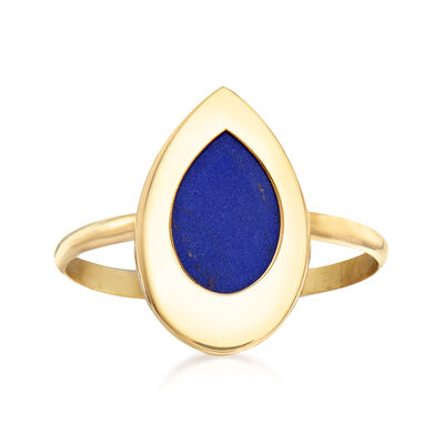 Italian Simulated Lapis Ring in 14kt Yellow Gold