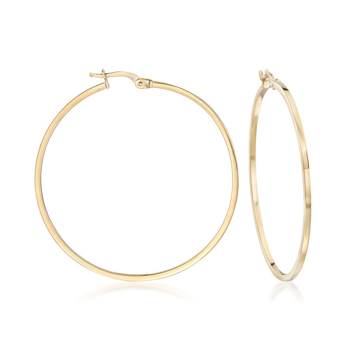 "Italian 1.5mm 18kt Yellow Gold Squared Hoop Earrings. 1 3/4"", , default"