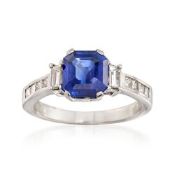 C. 2000 Vintage 2.98 Carat Ceylon Sapphire and .75 ct. t.w. Diamond Ring in Platinum. Size 7.5, , default