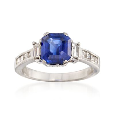C. 2000 Vintage 2.98 Carat Ceylon Sapphire and .75 ct. t.w. Diamond Ring in Platinum, , default