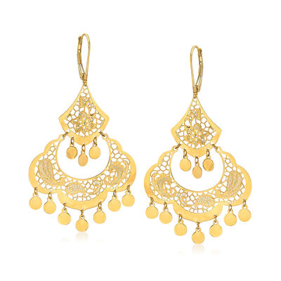 Italian 14kt Yellow Gold Filigree Chandelier Earrings