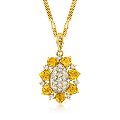 C. 2000 Vintage 2.55 ct. t.w. Yellow Sapphire and 1.04 ct. t.w. Diamond Flower Pendant Necklace in 18kt Yellow Gold