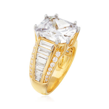 11.00 ct. t.w. CZ Ring in 18kt Gold Over Sterling, , default