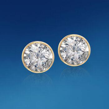 1.00 ct. t.w. Bezel-Set Diamond Stud Earrings in 14kt Yellow Gold, , default