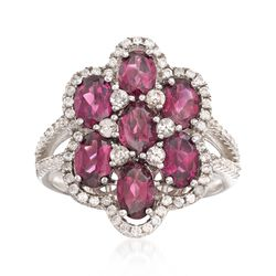 3.50 ct. t.w. Rhodolite Garnet and .80 ct. t.w. White Zircon Floral Ring in Sterling Silver, , default