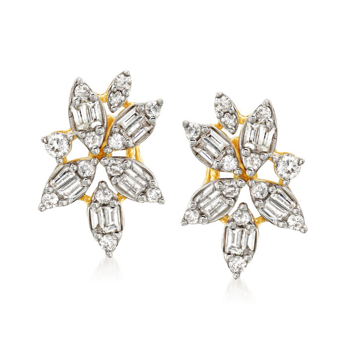 .55 ct. t.w. Diamond Floral Earrings in 14kt Yellow Gold