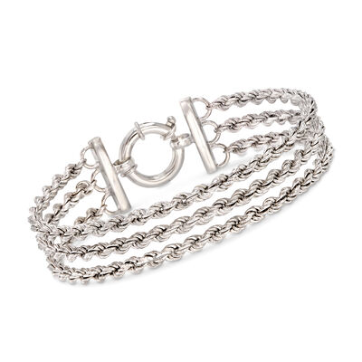 Italian Sterling Silver Three-Strand Rope Chain Bracelet, , default