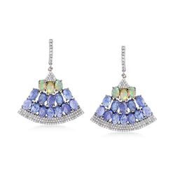 14.00 ct. t.w. Tanzanite and 1.70 ct. t.w. White Zircon Fan Drop Earrings With Opals in Sterling Silver, , default