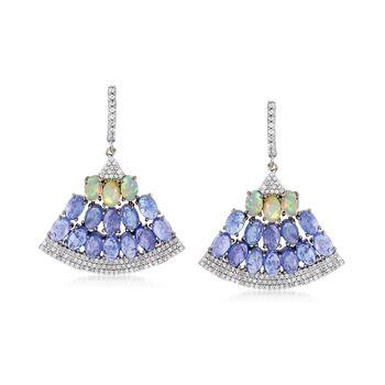 14.00 ct. t.w. Tanzanite and 1.70 ct. t.w. White Zircon Fan Drop Earrings With Opals in Sterling Silver, , default