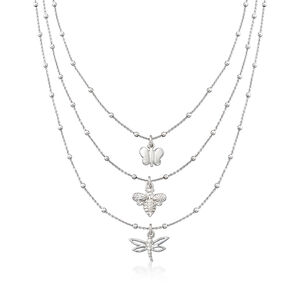 Italian Butterfly, Bee and Dragonfly Three-Strand Layered Necklace in Sterling Silver #932889