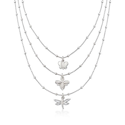 Italian Butterfly, Bee and Dragonfly Three-Strand Layered Necklace in Sterling Silver, , default