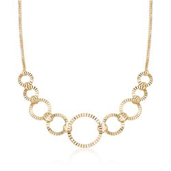 "18kt Gold Over Sterling Silver Crimped Circle-Link Necklace. 18"", , default"