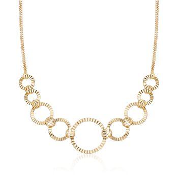 """18kt Gold Over Sterling Silver Crimped Circle-Link Necklace. 18"""", , default"""