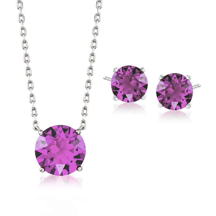 "Jewelry Set: Purple Swarovski Crystal Necklace and Earrings in Sterling Silver. 16"", , default"