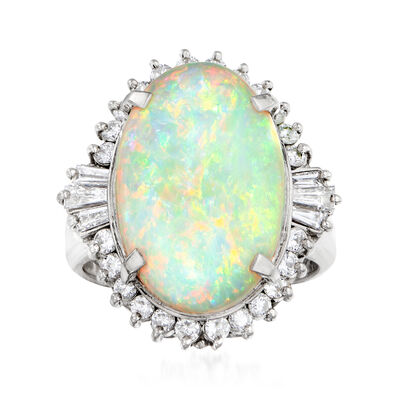 C. 1980 Vintage 5.02 Carat Opal and .74 ct. t.w. Diamond Ring in Platinum