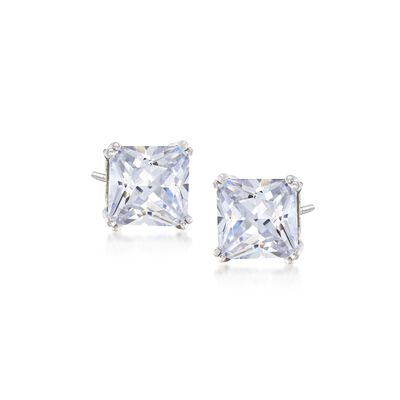 6.00 ct. t.w. Princess-Cut CZ Stud Earrings in Sterling Silver, , default