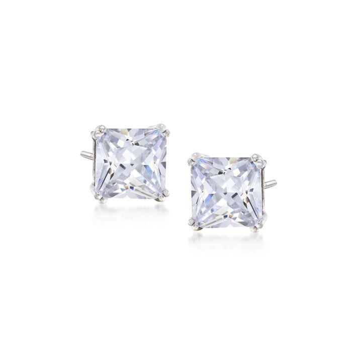 6.00 ct. t.w. Princess-Cut CZ Stud Earrings in Sterling Silver, , default