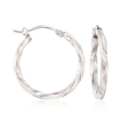 14kt White Gold Twist-Motif Hoop Earrings, , default