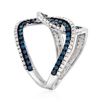 1.25 ct. t.w. Blue and White Diamond Ring in Sterling Silver
