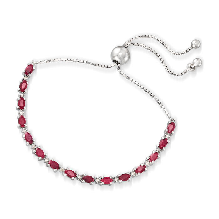 4.50 ct. t.w. Ruby Bolo Bracelet with Diamond Accents in Sterling Silver