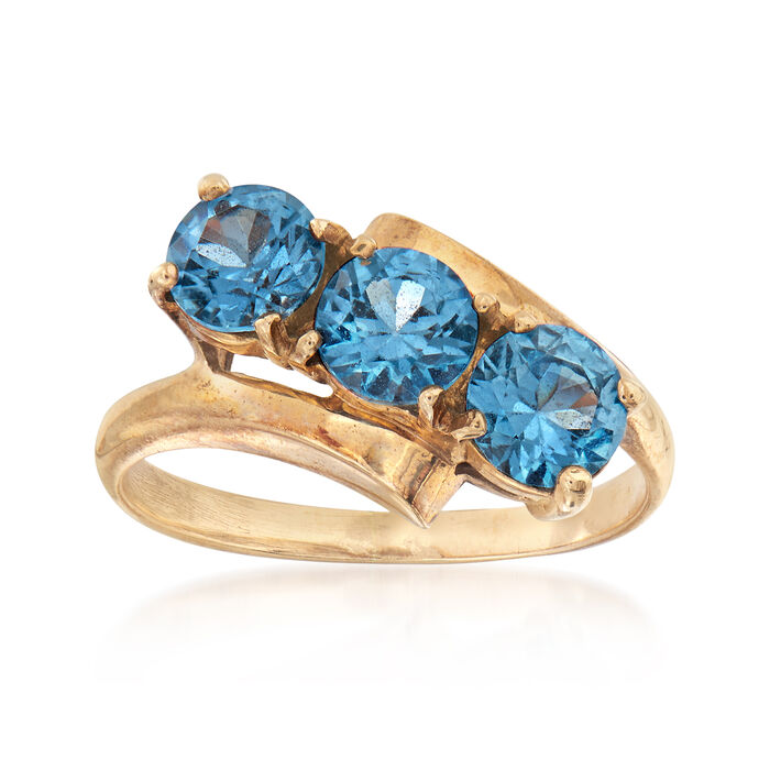 C. 1960 Vintage 1.50 ct. t.w. Synthetic Blue Spinel Ring in 10kt Yellow Gold. Size 7, , default