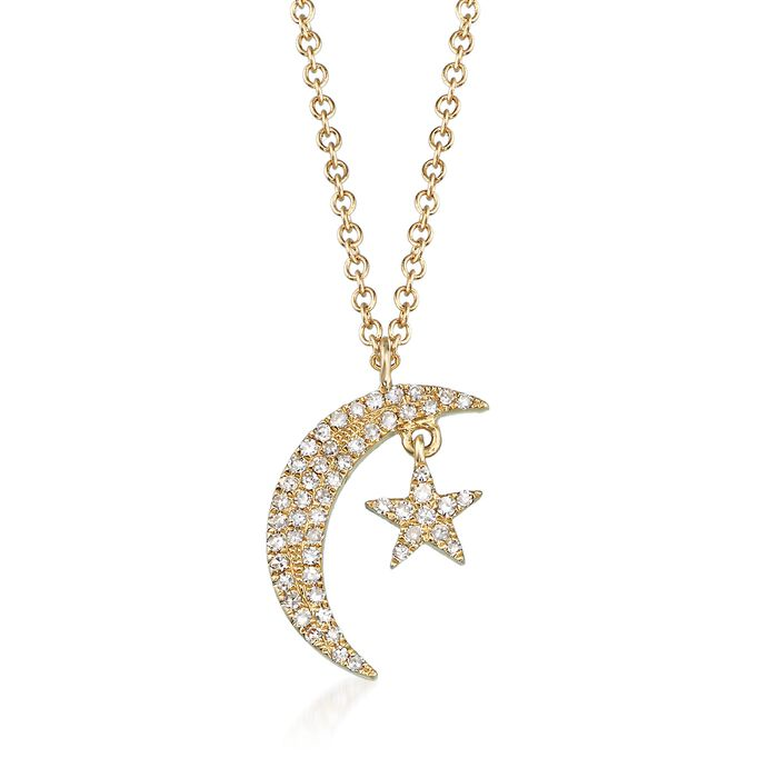 """.12 ct. t.w. Diamond Crescent Moon and Star Necklace in 14kt Yellow Gold. 18"""", , default"""