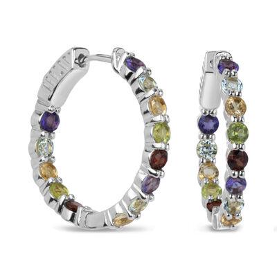 3.16 ct. t.w. Multi-Gemstone Hoop Earrings in Sterling Silver, , default