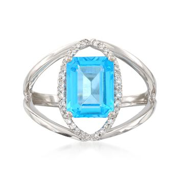 2.80 Carat Blue Topaz and .10 ct. t.w. Diamond Openwork Ring in 14kt White Gold, , default