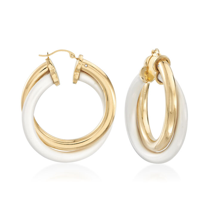 White Agate and 14kt Yellow Gold Hoop Earrings